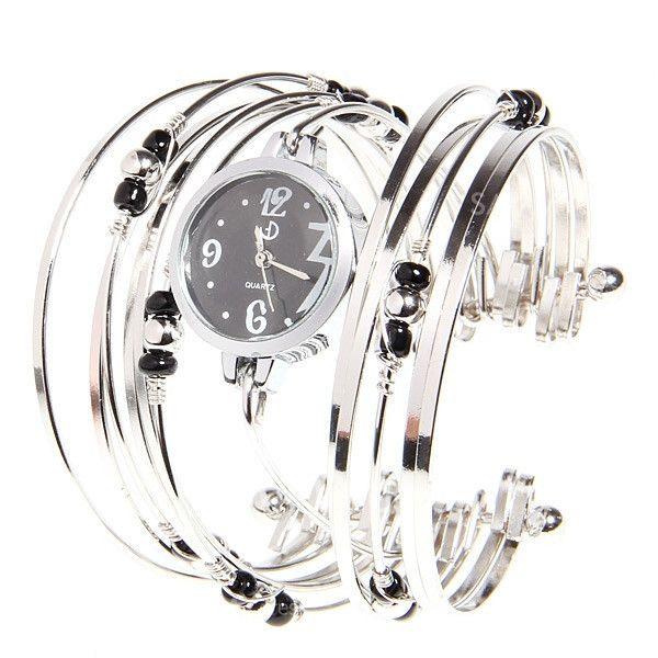 Stylish Women's Bracelet Style Watch Quartz Hours Analog with Multi-Strand Rings