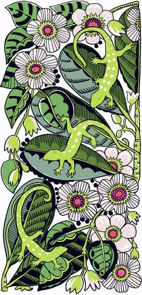 Geckos in the Clematis. Limited edition of 50.  26 x 56.5 cms. Lightfast print on 300gsm fine art paper by Jane Galloway http://www.palmprints.co.nz/geckos-in-the-clematis-c-606.html
