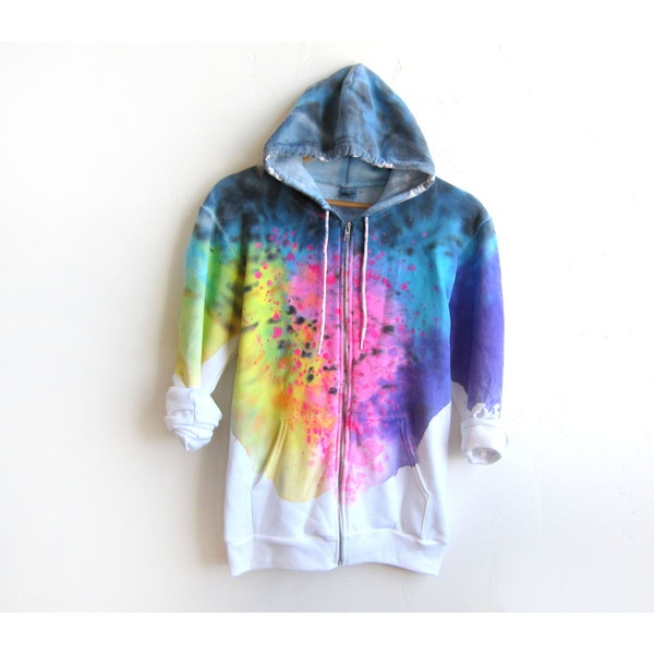 "The Original ""Splash Dyed"" Hand PAINTED Fleece Pocket Zip Hoodie... ($75) ❤ liked on Polyvore"
