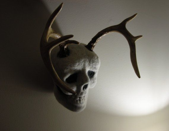Felted Human Skull with Deer Antlers by redwarf on Etsy, $600.00
