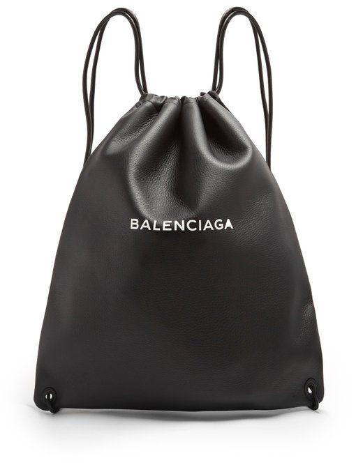 4294f1bc4f848 Logo-print leather drawstring backpack by Balenciaga  women  bags  bag   product
