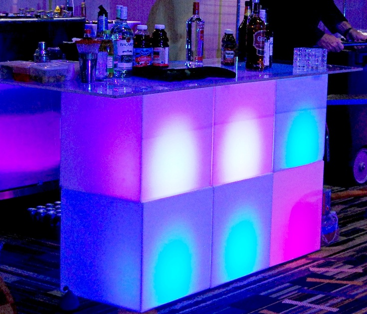 6 ft Cube Bar w/ LED Lights. Perfect bar set up for any Miami party occasion.