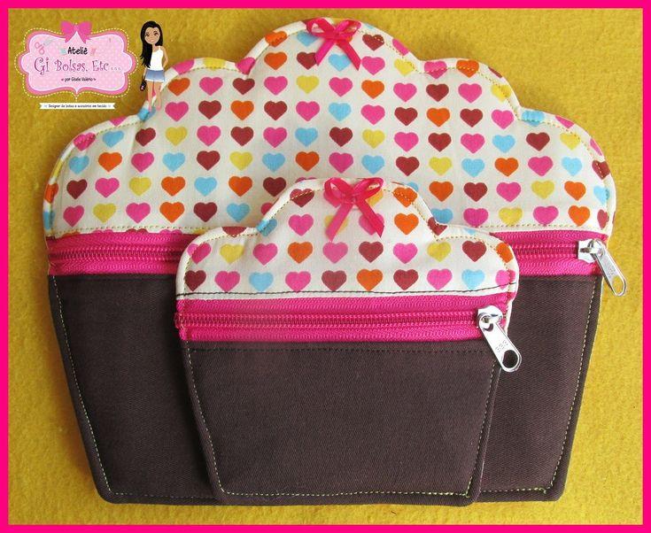 Kit Necessaire cupcake M (21x18) + porta níquel cupcake (12x12). **Verificar disponibilidade de tecidos**
