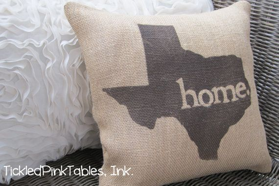 11x11 Texas Burlap Throw Pillow via Etsy...would have to be Vermont of course!