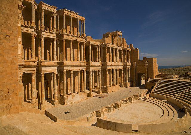 Theatre in ancient Roman city Sabratha, Libya by Eric Lafforgue, via Flickr