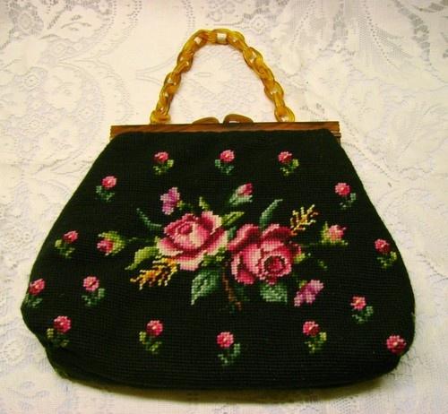 Vtg black needlepoint purse with roses plastic butterscoth handle frame handbag