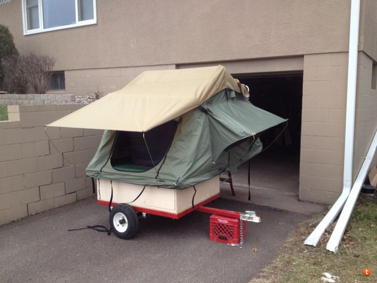 Home-Built Motorcycle Tent Trailer |