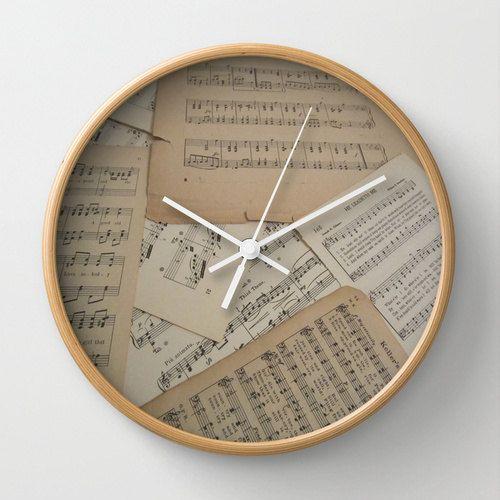 Vintage Music reloj de pared, reloj de música, reloj de música de la hoja. música decoración casera, regalo de la música