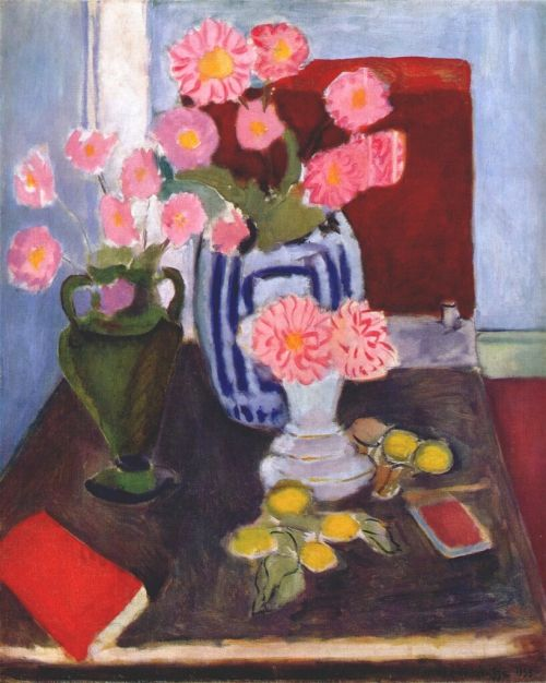 Henri Matisse - 1935, Still life with three vases
