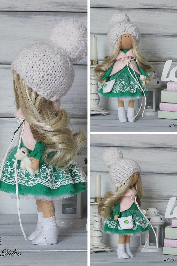 Love doll handmade, winter doll, christmas doll, tilda doll, fabric doll