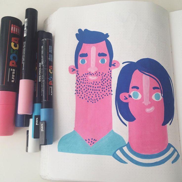 Hello! #posca #illustration #character #nuuna #illustratie
