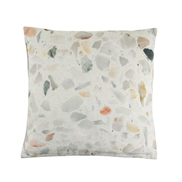 Discover+the+Bloomingville+Terazzo+Cushion+-+45x45cm+-+Light+Grey+at+Amara