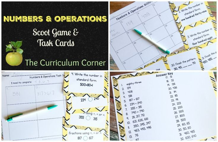FREE Numbers & Operations Scoot Game & Task Cards from The Curriculum Corner | Number Sense Activities