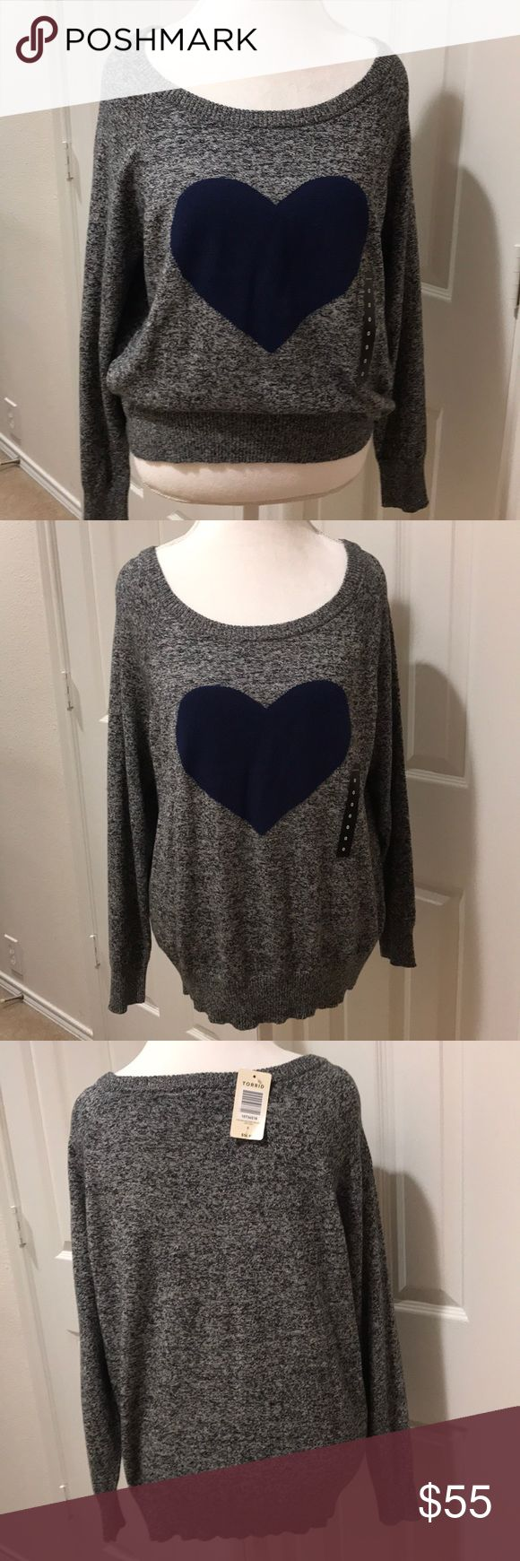 "🆕Torrid Heart Sweater New with tags, absolutely adorable black and white marled sweater sign navy blue heart. This is a 🎉REPOSH🎉 only because it did not fit. Wide scoop neck with wide band at the waist. 100% cotton, very cozy and comfy! Measures 23"" bust, 26"" length. Bundle discount available and I am also open to offers! torrid Sweaters"