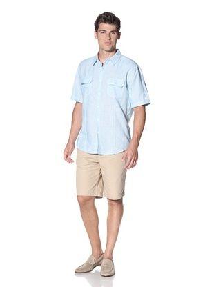 Cubavera Men's Two Pocket Striped Essential Woven Shirt