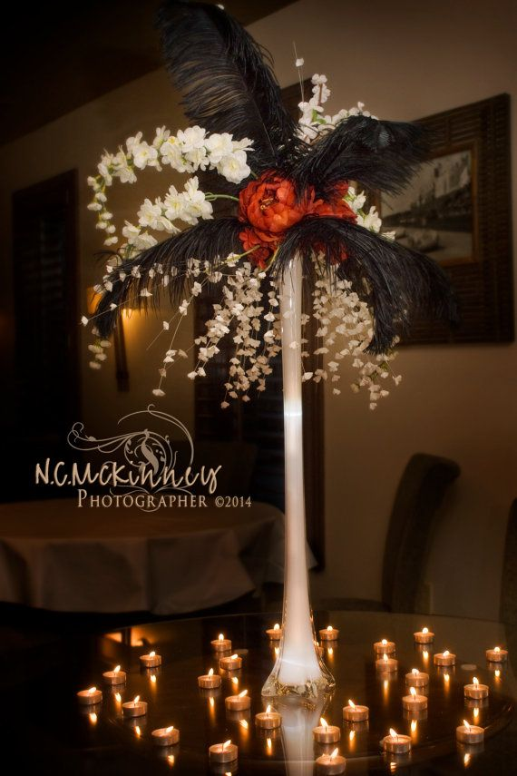 Tall ostrich feather and flowers banquet pinterest