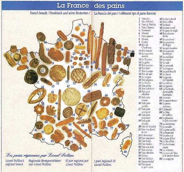 French Bread - Map of the Breads of France | Carte : La France des pains.
