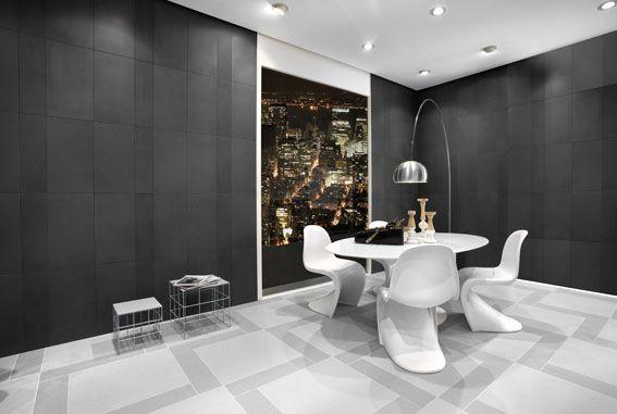 Piastrelle in gres porcellanato per il living, bagno e cucina, tonalità di grigio, grandi e piccoli formati