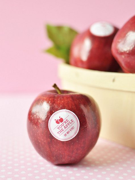 Great idea to sell fruits!: Apples Stickers, Valentines Ideas, Fruit, Gift, Sweet, Thistles, Valentines Day Ideas, Kids, Eye