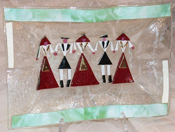 Centrotavola con personaggi, in vetro. Sardinian Store