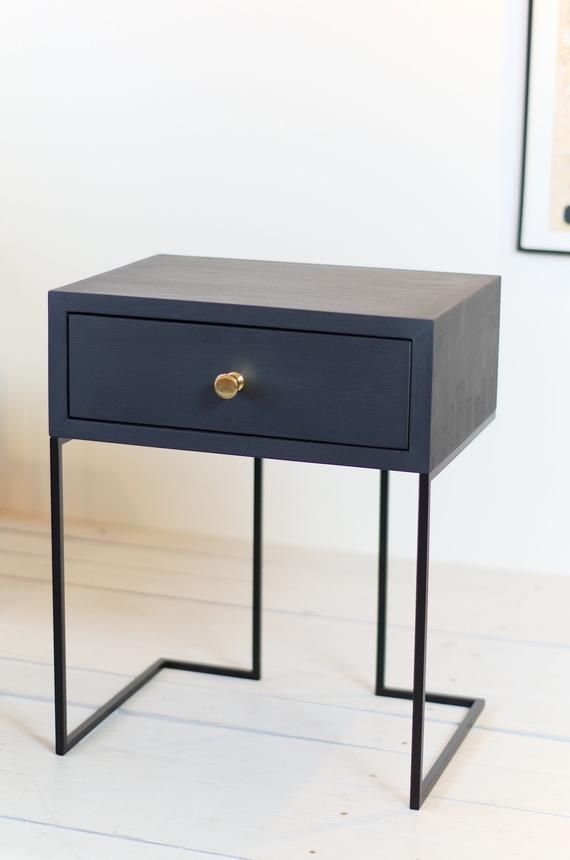 Black Bedside Table Mid Century Industrial Style Solid Oak