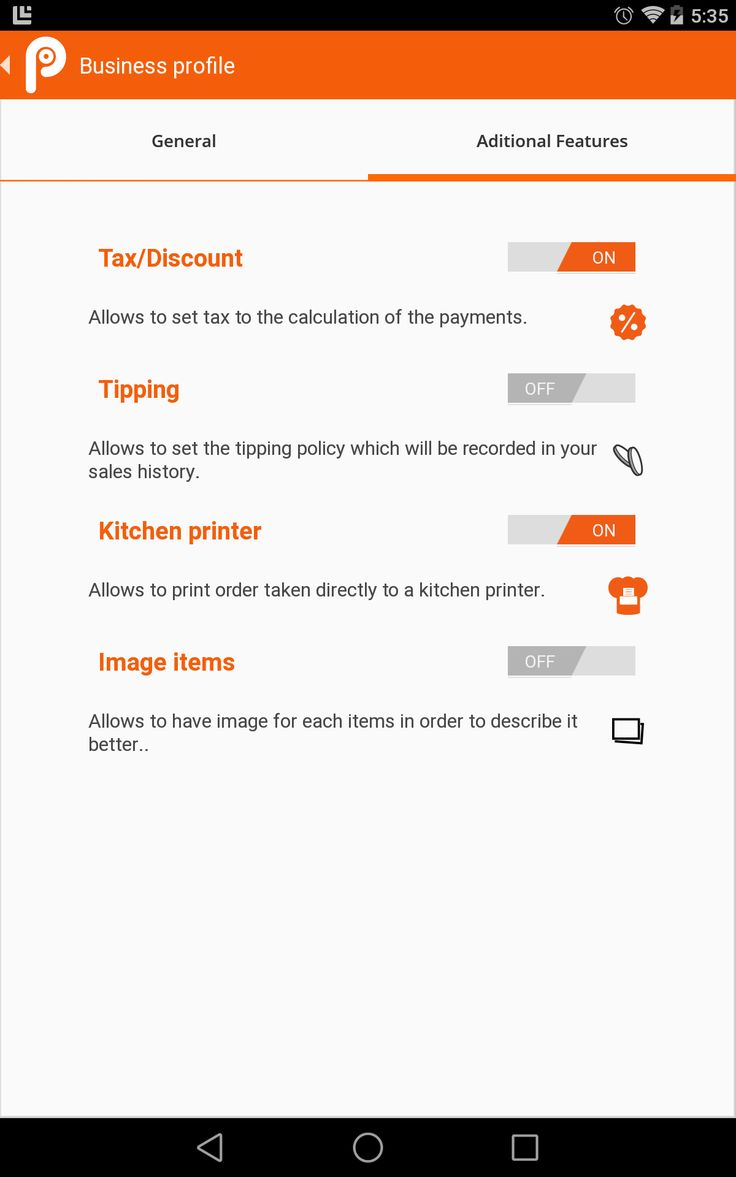 Settings in point of sale in tablet 7''