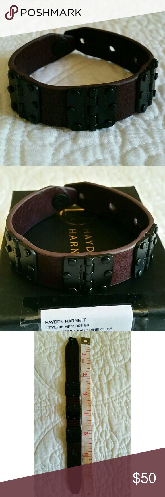 """JUST IN "" Sandrine Cuff EUC , Leather, size see pic #3, color oxblood ,comes with the original box,   7/26/2017 Hayden Harnett Jewelry Bracelets"