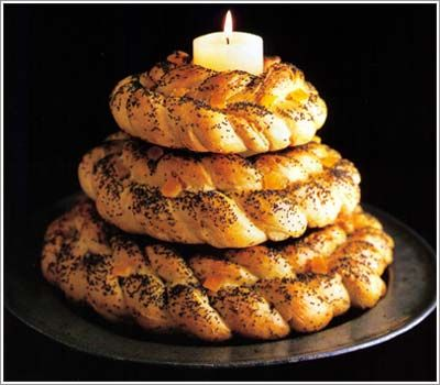 From The Holy Supper: A Christmas Eve Tradition in Ukraine    Kolach – Three large, ring-shaped braided loaves representing the Holy Trinity. This Christmas bread may serve as the central table decoration.
