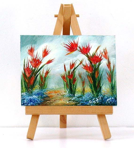 Valda Fitzpatrick landscape with red flowers absolutearts.com