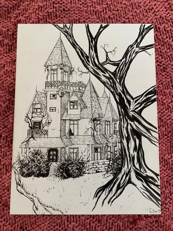 Haunted House Original Illustration Rebecca Existing Etsy Haunted House Creepy Horror Horror Photos