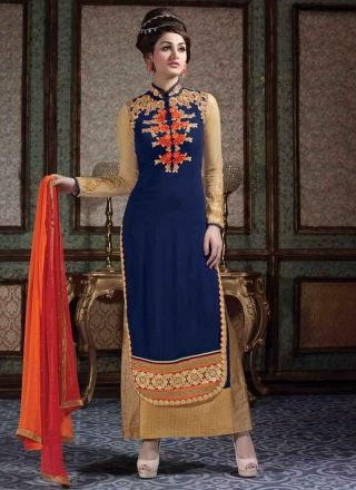 Dazzling Blue Embroidery Work Georgette Long Churidar Suit