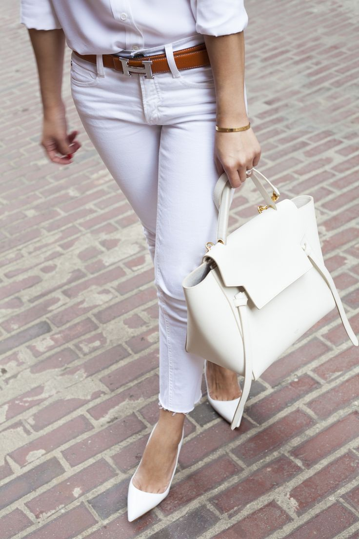 #allwhite All White Outfit, Equipment Blouse, AG jeans, Manolo Blahnik BB, Hermes Belt, Celine Belt Bag www.liketk.it/28WXy #liketkit