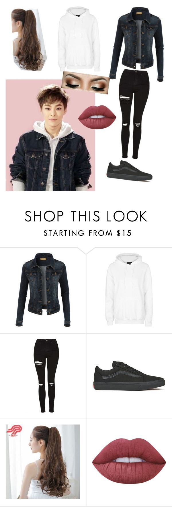 """""""Xiumin inspired look"""" by btsbxtch ❤ liked on Polyvore featuring LE3NO, Topshop, Vans, Pin Show, Lime Crime, EXO and xiumin"""