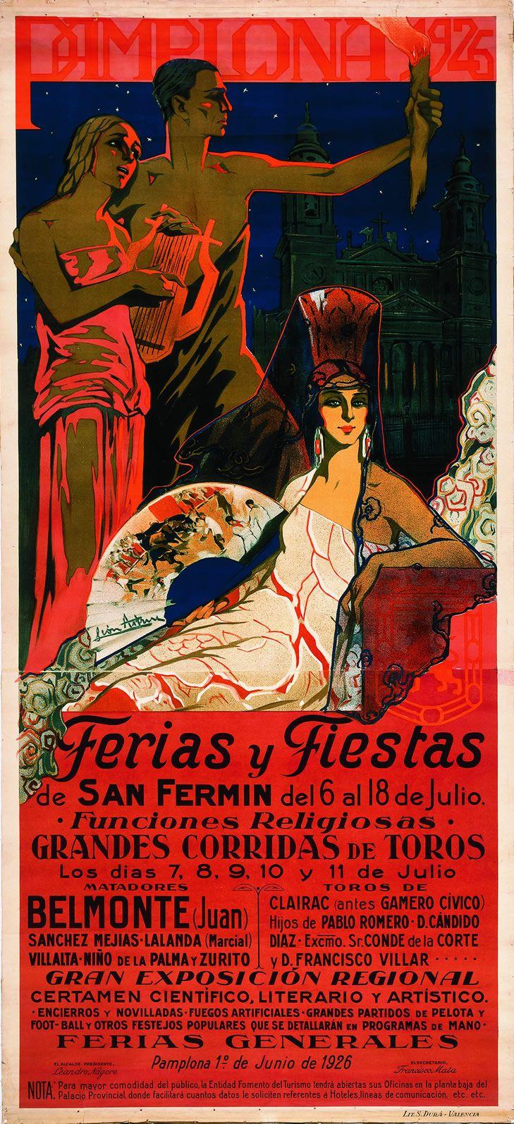 Cartel de los Sanfermines de 1926 - Fiestas y ferias de San Fermín, Pamplona :: Autor: Manuel León Astruc #Pamplona