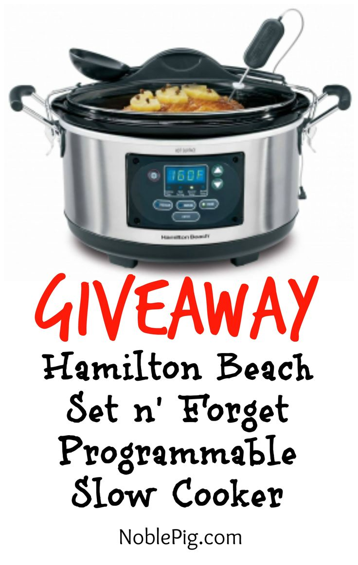 Giving Away a beautiful Hamilton Beach Set n' Forget Slow Cooker from NoblePig.com.