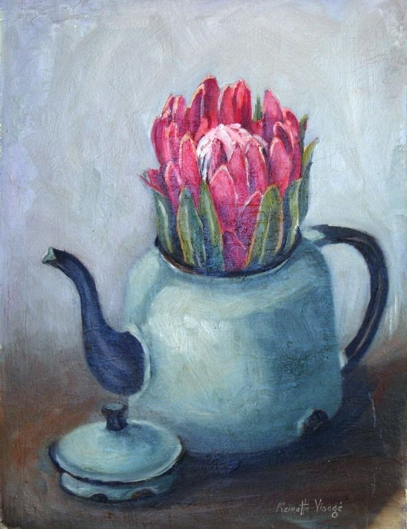 Enamel with Protea by R. Visage