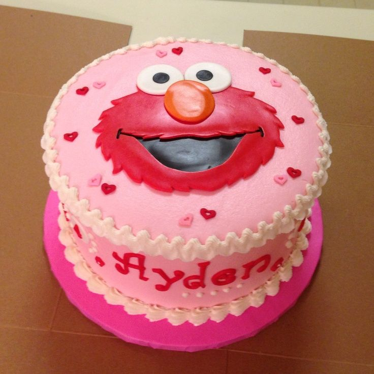 elmo cake ideas | Girly Elmo cake | birthday ideas (This cake is so cute, like the way the name is on the side of the cake, if for boy would do maybe blue base, with different colored circles on sides/top).So Cute!
