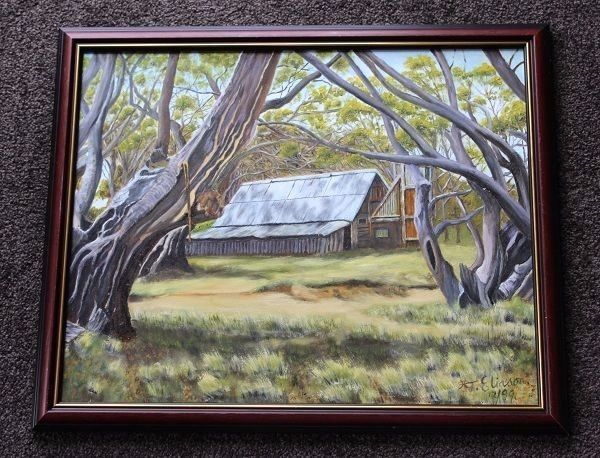 Signed & Framed Oil Painting Featuring Snowy Mountain High Country Retreat