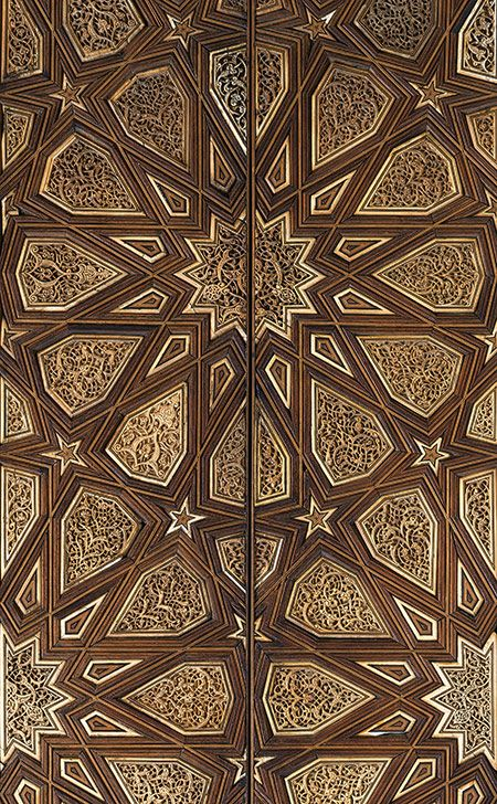 Pair of minbar doors, Mamluk period (1250–1517), ca. 1325–1330 Egypt, Cairo Wood (rosewood and mulberry); carved, inlaid with carved ivory, ebony, and other woods