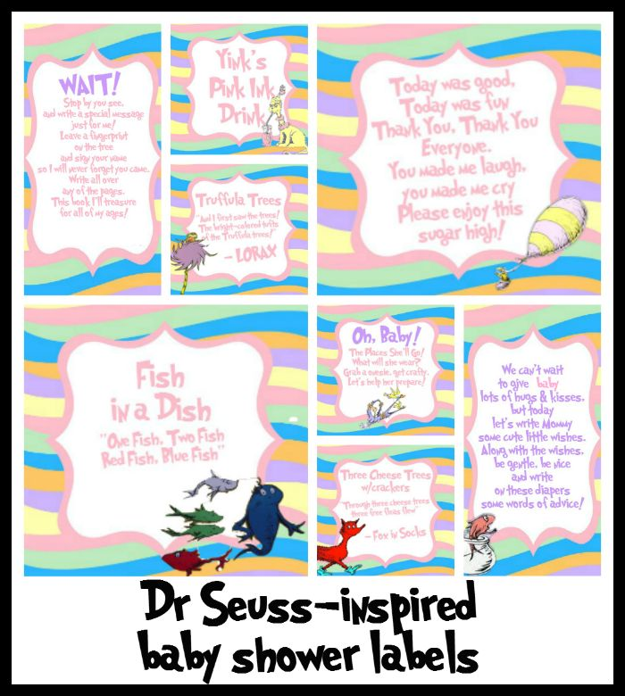 Baby shower FREE printables inspired by Dr. Seuss' Oh! The Places You'll Go