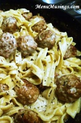 Meatballs stroganoff use premade meatballs, sour cream, milk, beef broth, cream cheese, noodles & spices