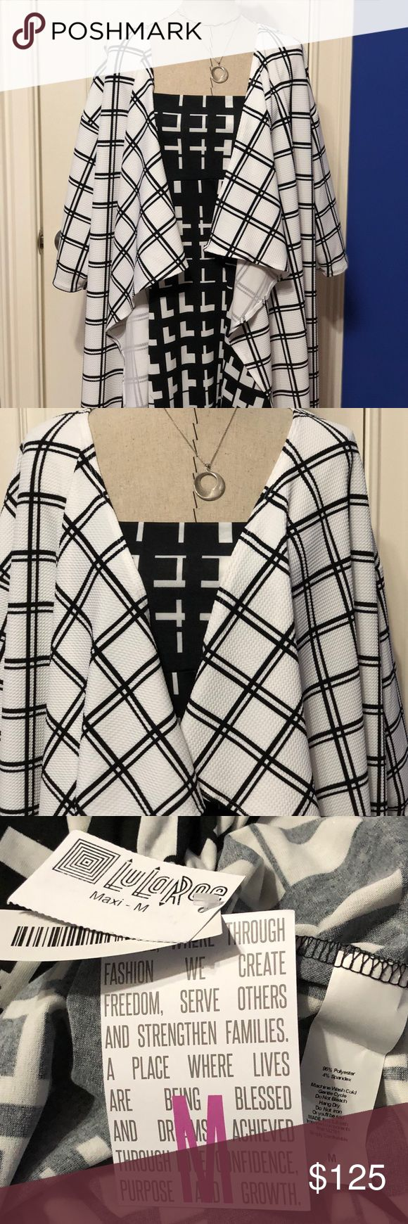 A fun play on Patterns /// Black & White LuLaRoe BNWT M MAXI / BNWT L SHIRLEY   Please remember Poshmark wants 20%; I am not a consultant - I paid retail - I just love making outfits and have a LuLa addiction. These are from a smoke free/pet free home. If you want a lower price, I'm happy to send a PayPal invoice.... LuLaRoe Skirts Maxi