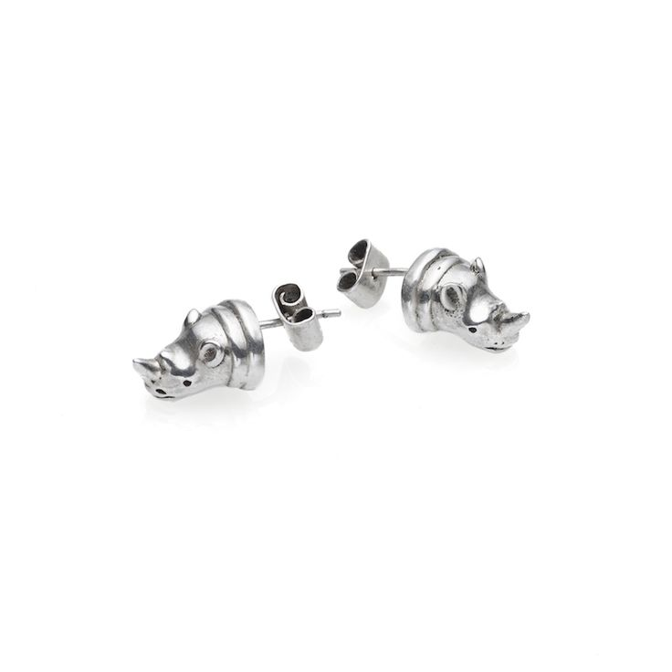 Rhino earrings - $120. Small stud earrings crafted in pure 925 sterling silver, fashioned into the shape of detailed rhinoceros heads, complete with horn. Lovingly designed in Sydney by Australian designer jewellery label Pushmataaha. www.savethelastpinker.com.au/shop/rhino-earrings/