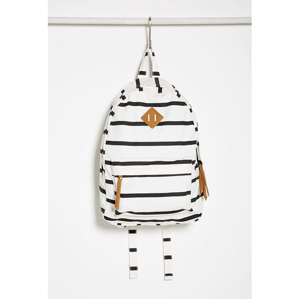 Forever 21 Classic Striped Backpack ($25) ❤ liked on Polyvore featuring bags, backpacks, white bags, forever 21, forever 21 bags, stripe bag and knapsack bags