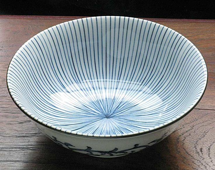 Blue & White Arita Udon Bowl - Bamboo Forest Japanese Dinnerware, Plates & Bowls, Sushi Sets, Cast Iron Teapots:
