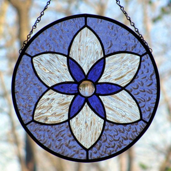 Violet Purple Stained Glass Six Pointed Star Mandala Suncatcher
