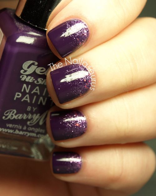 Purple Glitter Gradient -- Base Color: Barry M - Plum; Glitter: Sally Hansen - Be-Jewelled ~~~ #nailasaurus