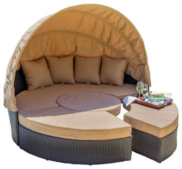 Avery Island Resin Wicker Patio Daybed transitional-outdoor-lounge-sets