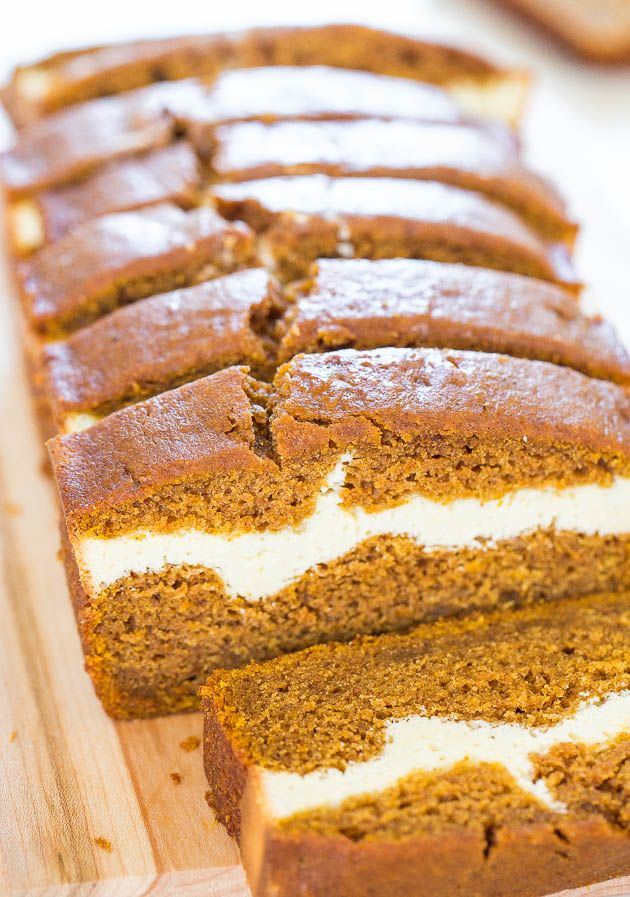 Cream Cheese-Filled Pumpkin Bread - Pumpkin bread that's like having cheesecake baked in! By @averie