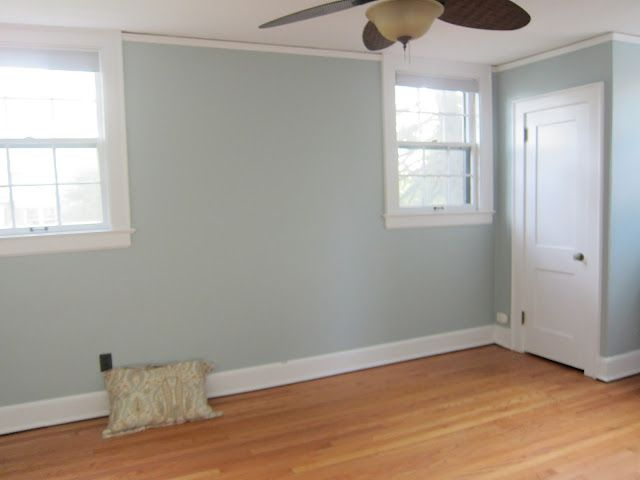 Room color:  Behr's Rocky Mountain Sky. JB painted our bedroom this color today, and I am absolutely in love with it!  It changes with the light ... Grey, blue, green .... Like sea glass. Perfect!